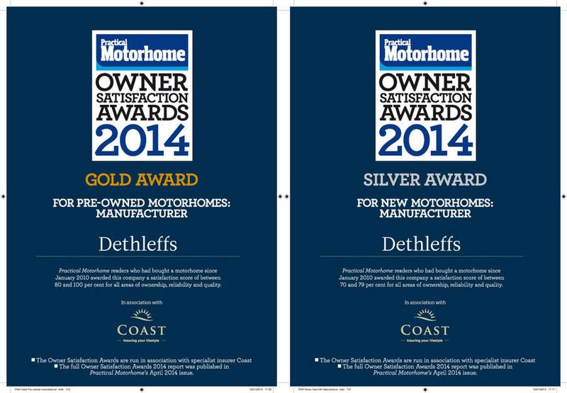 Dethleffs mit »Owner Satisfaction Awards« ausgezeichnet. © spothits/Dethleffs/Practical Motorhome