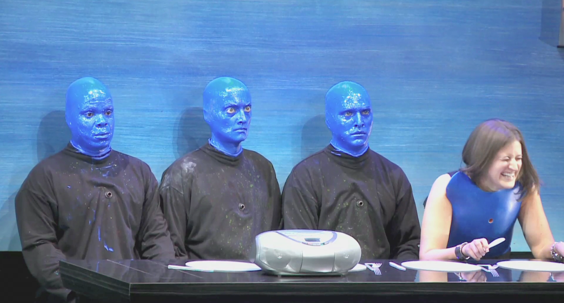 Die Blue Man Group in Berlin. © spothits/mhoch4tv
