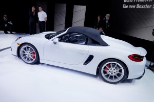 New York 2015: Porsche Boxster Spyder startet. © spothits/Auto-Medienportal.Net/Manfred Zimmermann