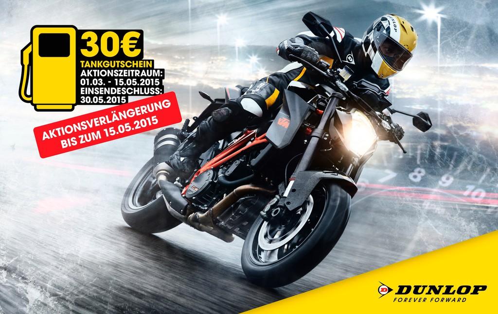 Dunlop verlängert Tankgutschein-Aktion für Motorradfahrer. © spothits/Auto-Medienportal.Net/Dunlop