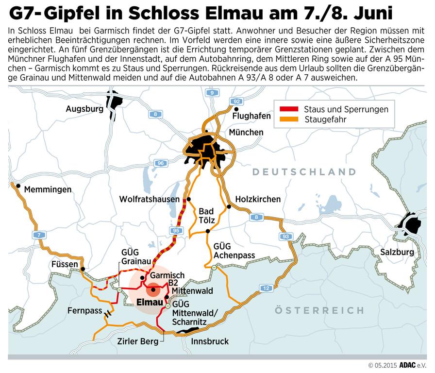 G7-Gipfel beeinträchtigt den Verkehr. © spothits/Auto-Medienportal.Net/ADAC