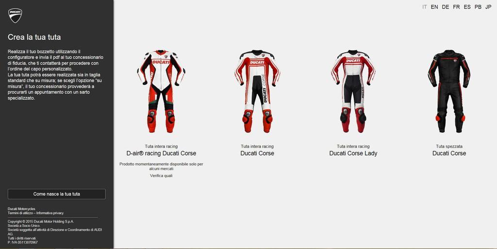 Ducati webseite für individuelle motorradkombi spothits