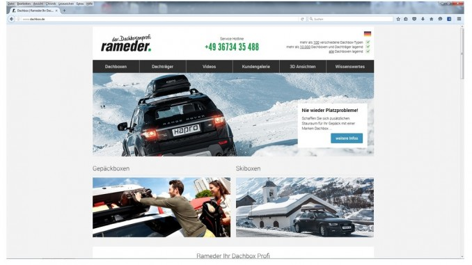 Rameder launcht Dachbox-Onlineshop. © spothits/Rameder