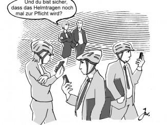 """Neue Gefahr im Straßenverkehr: Fußgänger am Handy. © spothits/Helmpflicht für """"Smombies"""" (Smartphone-Zombies). Foto: Goslar Institut"""