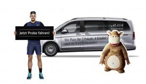 Mercedes-Benz startet V-Klasse-Kampagne. © spothits/Mercedes-Benz V-Klasse mit Roger Federer und Kuschelmonster Vuddi./Foto: Daimler