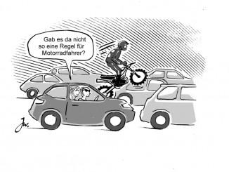 Durchschlängeln kann teuer werden. © spothits/Auch Motorradfahrer müssen im Stau warten./Foto: Goslar Institut