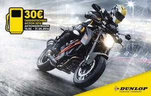 Mit neuen Motorradreifen für 30 Euro tanken. © spothits/Tankgutschein-Aktion von Dunlop für Motorradfahrer./Foto: Auto-Medienportal.Net/Dunlop