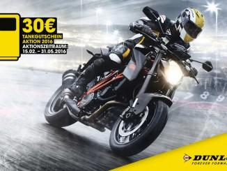 Mit neuen Motorradreifen für 30 Euro tanken. © spothits/Auto-Medienportal.Net/Dunlop
