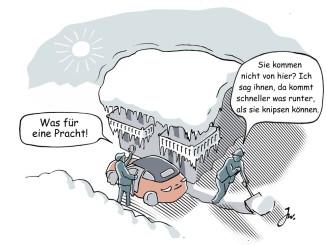 Vorsicht Dachlawine. Grafik: spothits/ampnet/Goslar Institut