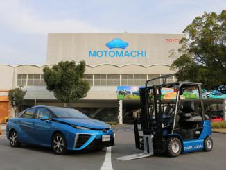 Brennstoffzellenfahrzeuge von Toyota: Mirai und Toyota 25 Fuel Cell Forklift. Foto: spothits/ampnet/Toyota