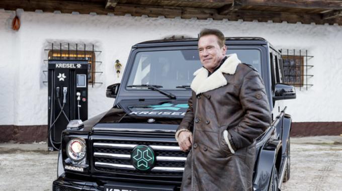 Arnold Schwarzenegger wird den Mercedes-Benz G-Klasse von Kreisel Electric in Los Angeles testen. Foto: spothits/Kreisel Electric/Martin Pröll