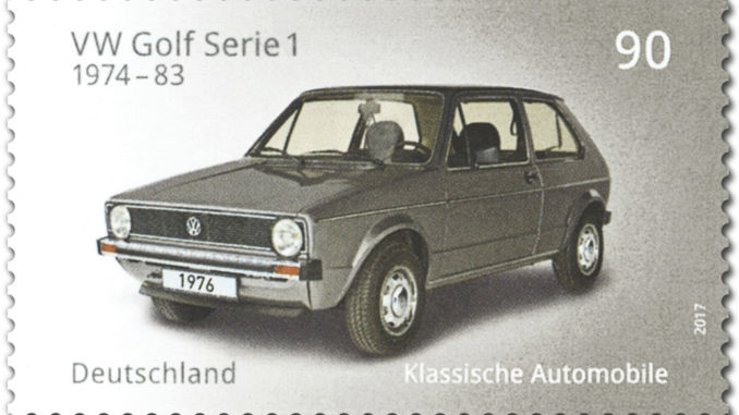 VW Golf als Sondermarke der Deutschen Post. Foto: spothits/Deutsche Post/VW