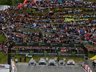 Mattias Ekström (Audi S1 EKS RX quattro #1), Ken Block (USA) Ford Focus RS (RX Supercar), Johan Kristoffersson (S) Volkswagen Polo GTI Supercar 2017, Toomas Heikkinen (Audi S1 EKS RX quattro #57), Reinis Nitišs (Audi S1 EKS RX quattro #15), Timmy Hansen (S), Peugeot 208 WRX Supercar. Foto: spothits/Audi