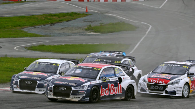 Mattias Ekström (Audi S1 EKS RX quattro #1), Toomas Heikkinen (Audi S1 EKS RX quattro #57). Foto: spothits/Audi