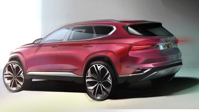 Hyundai Santa Fe: Designskizze gibt Vorgeschmack auf neue SUV-Generation. Grafik: spothits/Hyundai