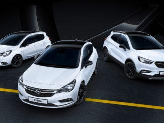 Opel Astra, Corsa und Mokka mit schwarzen Akzenten. Foto: spothits/Opel