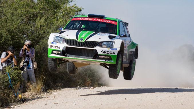 Skoda bei der Rallye Argentinien 2018: Die finnischen Skoda Junioren Kalle Rovanperä und Jonne Halttunen haben nach der zweiten Etappe die Führung in der Kategorie WRC 2 übernommen. Foto: spothits/Skoda