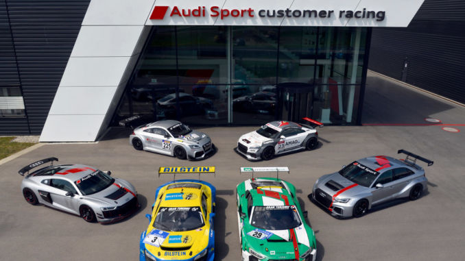 Zehn Jahre Audi Sport customer racing. Hintere Reihe: Audi TT RS, Audi TT cup. Vordere Reihe: Audi R8 LMS GT4, Audi R8 LMS ultra, Audi R8 LMS, Audi RS 3 LMS. Foto: spothits/Ferdi Kräling Motorsport-Bild GmbH